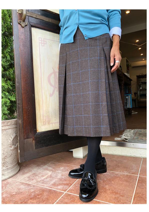 INCOTEX グレンチェックボックスプリーツスカート