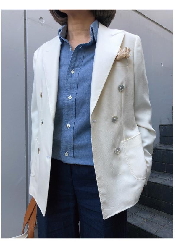 RING JACKET ホワイトWブレストジャケット