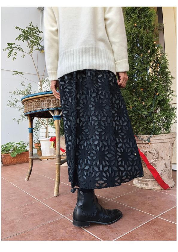 HARRIS WHARF LONDON フラワーモチーフロングスカート